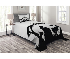 Black Silhouette Barn Sheep Bedspread Set