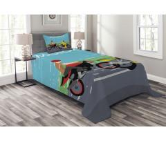 2 Bikers Racing Bedspread Set