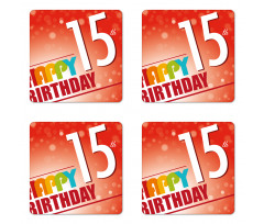 15th Birthday Concept Coaster Set Of Four