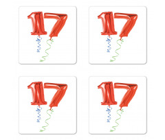 17 Party Red Balloons Coaster Set Of Four