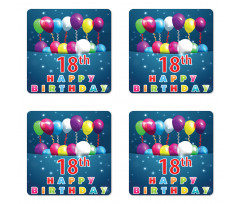 18 Birthday Balloons Coaster Set Of Four