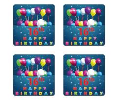 16 Party Coaster Set Of Four