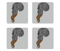 Abstract Art Skull Beard Coaster Set Of Four