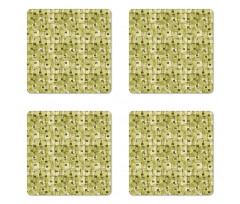 Abstract Autumn Garden Coaster Set Of Four