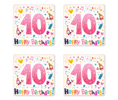10 Years Kids Birthday Coaster Set Of Four