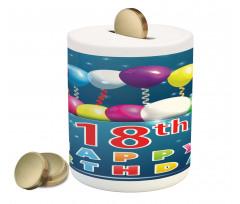 18 Birthday Balloons Piggy Bank