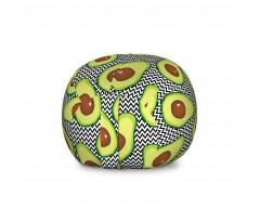 Avokado Pelüş Oyuncak Çuvalı Zikzak Arka Planlı Sağlıklı Meyve Tekrarlı