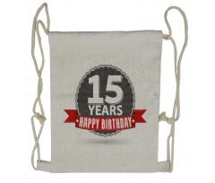 15 Emblem Drawstring Backpack