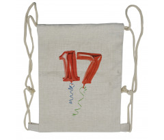 17 Party Red Balloons Drawstring Backpack