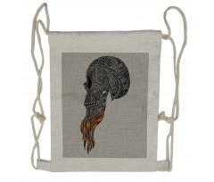 Abstract Art Skull Beard Drawstring Backpack