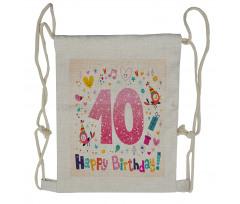 10 Years Kids Birthday Drawstring Backpack