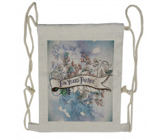 10 Years Floral Art Drawstring Backpack