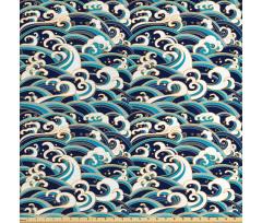 Deniz ve Okyanus Parça Kumaş Mavi Beyaz Sarı Dalga