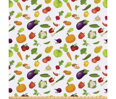 Taze Gıda Mikrofiber Parça Kumaş Brokoli Patlıcan Domates Mısır Desenleri