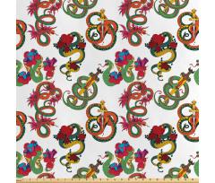Asya Saten Parça Kumaş Rengarenk Kültürel Stil Yılan ve Ejderha