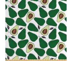 Avokado Saten Parça Kumaş İç ve Dış Yüzü Gözüken Tekrarlı Doğal Meyve