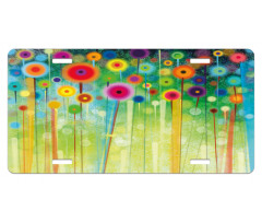 Abstract Art Dandelion License Plate