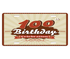 100 Old Party Invite License Plate