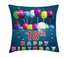 18 Birthday Balloons Pillow Cover