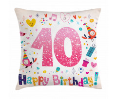 10 Years Kids Birthday Pillow Cover