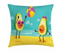 Avokado Minder Kılıfı Plajda Voleybol Oynayan Sağlıklı Meyveler