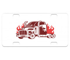 18 Wheeler Silhouette Mini License Plate