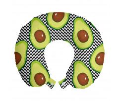 Avokado Boyun Yastığı Zikzak Arka Planlı Sağlıklı Meyve Tekrarlı
