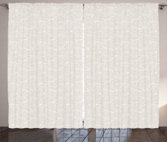 Açık Renkli Perde Bej ve Beyaz El Çizimi Dalga Desenli