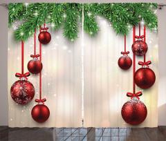 Dini Perde Noel Temalı Kar Süslemeli Top Salkımları