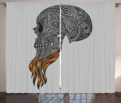 Abstract Art Skull Beard Curtain