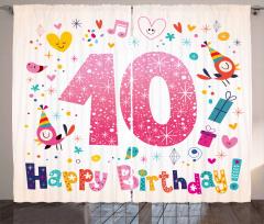 10 Years Kids Birthday Curtain