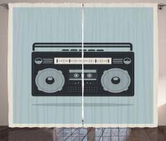 1980s Boombox Image Curtain