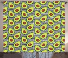 Avokado Perde Zikzak Arka Planlı Sağlıklı Meyve Tekrarlı