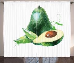 Avokado Perde Sulu Boya Tarzında Açılmış Meyveler Model