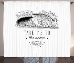 1986 Ocean Surf Waves Curtain