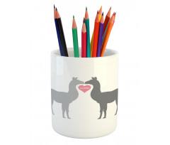 2 Animals in Love Pencil Pen Holder