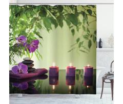 Çiçekli Duş Perdesi Zen Temalı