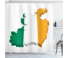 Avrupa Duş Perdesi İrlanda Haritasına Çizilmiş Bayrak ile İkon