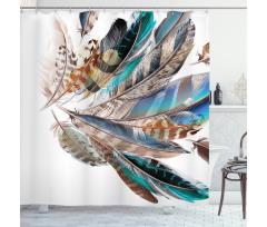 Kuşlar Duş Perdesi Kuş Tüyü Desenli Sanatsal