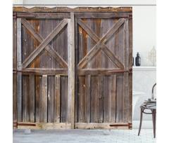 Retro Duş Perdesi Nostaljik Eski Ahşap Kapı Deseni