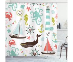 Denizci Duş Perdesi Çocuksu Pastel Deniz Temalı