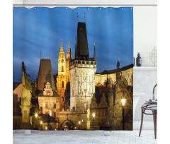 Avrupa Duş Perdesi Antik Mimari ve Gökyüzü