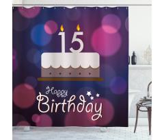 15 Birthday Cake Shower Curtain