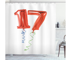 17 Party Red Balloons Shower Curtain