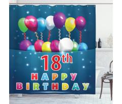 18 Birthday Balloons Shower Curtain