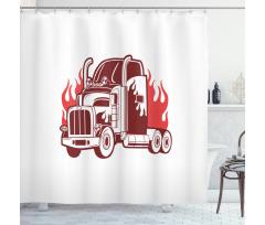 18 Wheeler Silhouette Shower Curtain