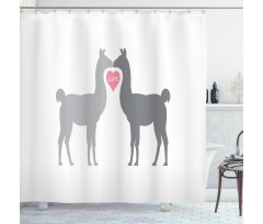 2 Animals in Love Shower Curtain