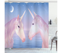 2 Akhal Teke Unicorns Shower Curtain