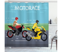 2 Bikers Racing Shower Curtain