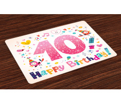 10 Years Kids Birthday Place Mats